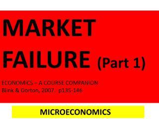 MARKET FAILURE (Part 1) ECONOMICS – A COURSE COMPANION Blink &  Dorton , 2007.  p135-146