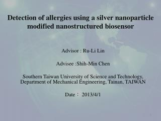 Advisor :  R u -Li Lin Advisee :Shih-Min Chen