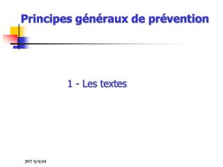 Principes g n raux de pr vention