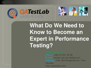 What Do We Need to Know to Become an Expert in Performance T