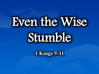 Even the Wise Stumble