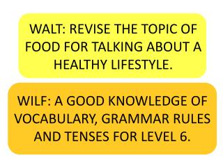 WALT: REVISE THE TOPIC OF FOOD FOR TALKING ABOUT A HEALTHY LIFESTYLE.