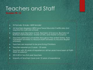 Teachers and Staff  Grades PK-12