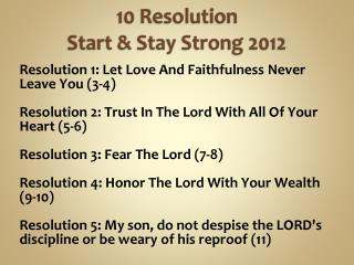 10  Resolution Start & Stay Strong 2012