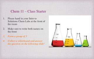 Chem 11 � Class Starter