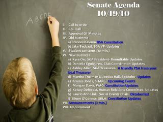 Senate Agenda  10/19/10