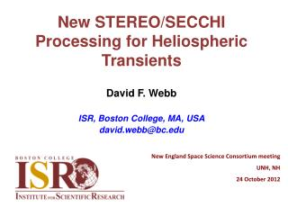 New STEREO/SECCHI Processing for  Heliospheric  Transients