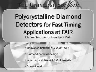 Motivation behind LYCCA at FAIR Diamond detector design Initial tests at Texas A&M University