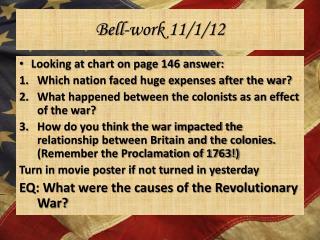 Bell-work 11/1/12