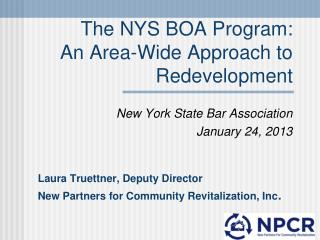 The NYS BOA Program: An Area-Wide Approach to Redevelopment