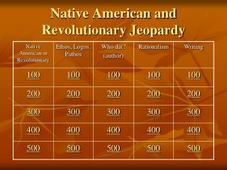 Native American and Revolutionary  Jeopardy
