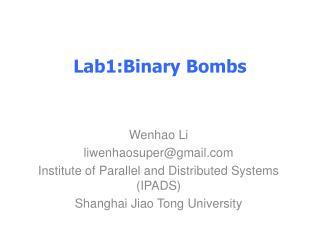 Lab1:Binary  Bombs
