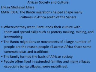 African Society and Culture Life in Medieval Africa