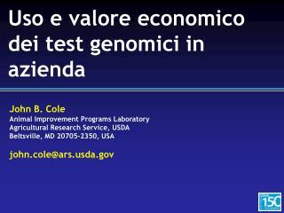Uso  e  valore economico dei  test  genomici  in  azienda