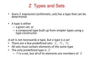 Z  Types and Sets