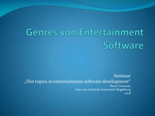 Genres von Entertainment Software
