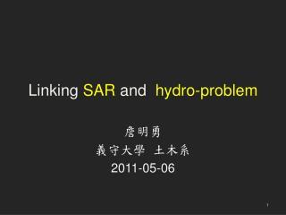 Linking  SAR  and   hydro-problem