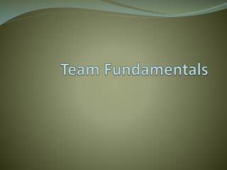 Team Fundamentals