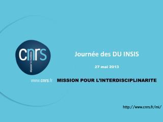 Journée des DU INSIS 27 mai 2013 MISSION POUR L'INTERDISCIPLINARITE http://www.cnrs.fr/mi/