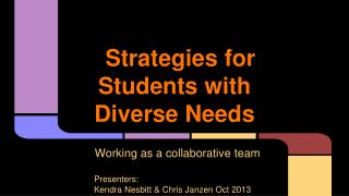 Strategies for Students with Diverse Needs