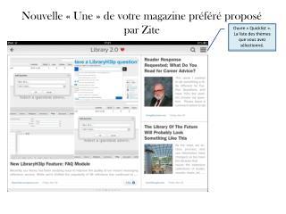 Nouvelle «Une» de votre magazine préféré proposé  par  Zite