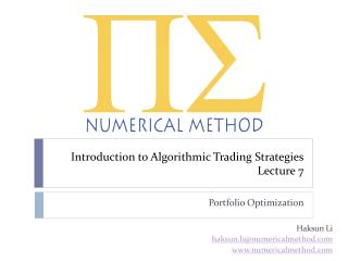 Introduction to Algorithmic Trading Strategies Lecture  7