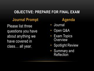 Objective: Prepare for Final Exam