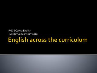 English across the curriculum