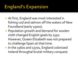 England's Expansion