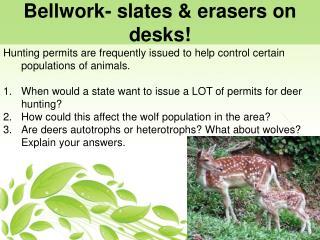 Bellwork -  slates  &  erasers  on desks!