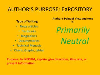 AUTHOR�S  PURPOSE: EXPOSITORY