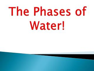 The Phases  of  Water!