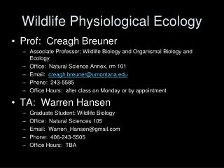 Wildlife Physiological Ecology