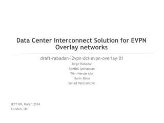 Data Center Interconnect Solution for EVPN Overlay networks