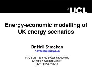 Energy-economic modelling of UK energy scenarios
