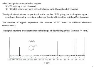 All of the signals are recorded as  singlets . 13 C -  13 C  splitting is not observed