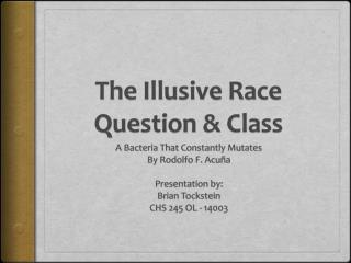 The Illusive Race Question & Class