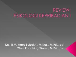 REVIEW:  PSIKOLOGI KEPRIBADIAN I