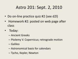 Astro  201: Sept. 2, 2010