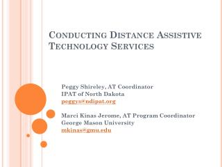 Conducting Distance Assistive Technology Services