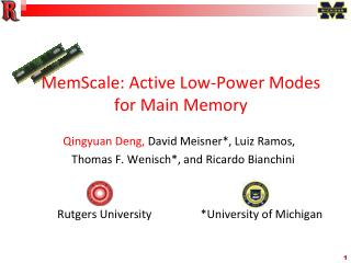 MemScale: Active Low-Power Modes for Main Memory