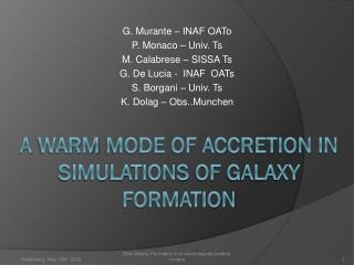 A  warm  mode of  accretion  in  simulations  of  galaxy formation