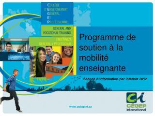 Programme de soutien à la mobilité enseignante