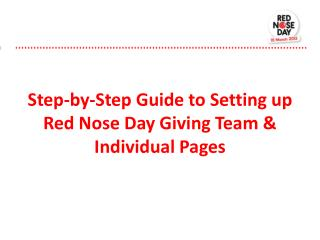 Step-by-Step Guide to Setting up Red Nose Day Giving Team & Individual Pages