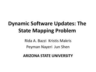Dynamic Software Updates: The State Mapping Problem