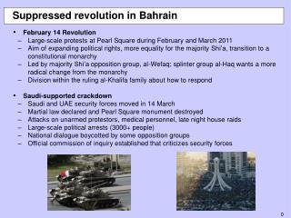Suppressed revolution in Bahrain