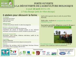 porte ouverte A LA Découverte de l'AGRICULTURE BIOLOGIQUE