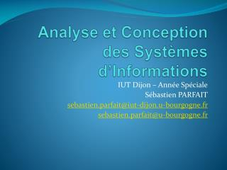 Analyse et Conception des Syst�mes d�Informations