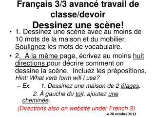 Français 3/3 avanc é travail de classe/devoir Dessinez une sc ène!
