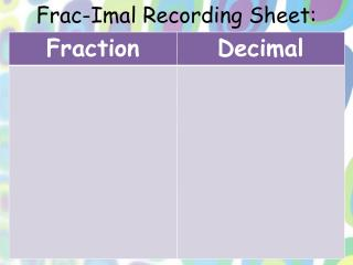Frac-Imal  Recording Sheet: